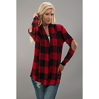 Buffalo Plaid Cardigan with Elbow Patches - Red