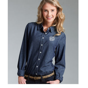 Monogrammed Chambray Shirt Women's Ladies Bridesmaid gift  Monogrammed gift  Wedding  Monogram Bridal Party Shirt