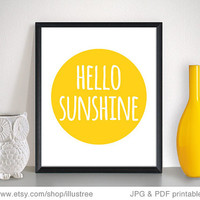 Hello sunshine, printable wall art, digital art print, 8x10, here comes the sun poster, digital printable, home decoration, instant download