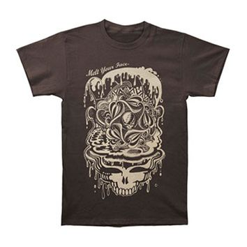 Grateful Dead Men's  Dead Melt Slim Fit T-shirt Brown Rockabilia