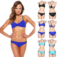Bandage V-Neck Bikini Set Swimwear