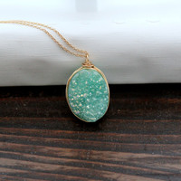 Buttermint Oval Druzy Necklace