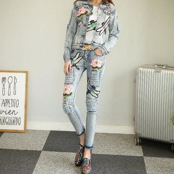 Trendy Nancylim Women Jeans Sets Fashion Lotus Dragonfly Light Blue Denim Jacket + Long Jeans Girl Lady Two Piece Denim Pants Suit AT_94_13