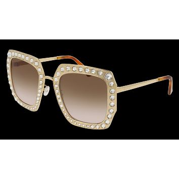 Gucci - GG0115S-002 Gold Sunglasses / Brown  Lenses