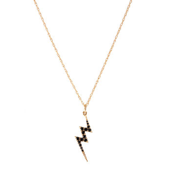 Rose Gold Lightning Bolt Necklace With Black Diamonds