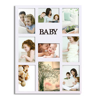"Furnistar Decorative White Wood ""Baby"" Wall Hanging Collage Picture Photo Frame"