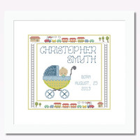 Baby Birth Record Chris -  PDF Cross Stitch Pattern - INSTANT DOWNLOAD