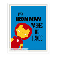 "Superhero Bathroom Print  - ""Even Iron Man Washes His Hands"" - Comic Book Print // Pop Art Print -Batman-Spider-man-Captain America"