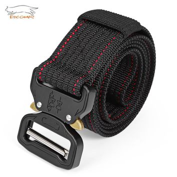 EDCGEAR Tactical Belt Military Army Men's Heavy Duty Combat Belt Nylon Webbing Belt with Quick Release Buckle Military Equipment