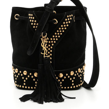 Saint Laurent Black Small Studs Bucket Bag