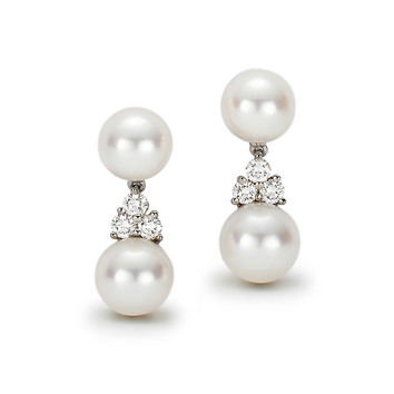 Tiffany & Co. - Tiffany Aria drop earrings of Akoya cultured pearls and diamonds in platinum.