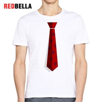 REDBELLA Hipster Men T Shirt Printed Tie Cool Style Chic Design Funny Parody Tumblr T-shirt Short Sleeve Cotton White Hot Tops