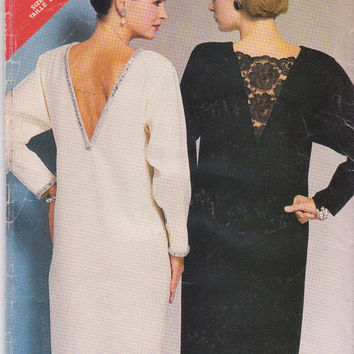 Vintage 1980s pattern for straight special occasion or cocktail dress with deep V back misses size 14 16 18 Butterick See & Sew 5447 UNCUT