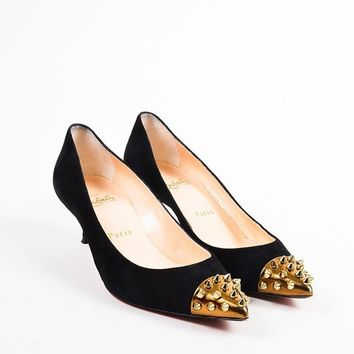 KUYOU Christian Louboutin Black and Gold Suede Spike Studded Cap Toe  Geo 45  Pumps