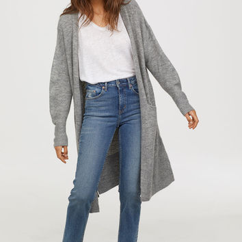 Fine-knit Cardigan - Gray melange - Ladies | H&M US