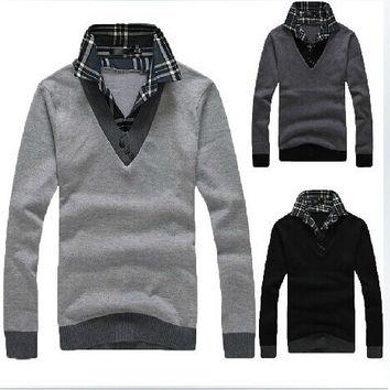 Autumn and winter sweater male thermal turn-down collar sweater slim faux two piece sweater