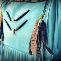 NATIVE NOMAD Weekend/Tote Boho Bag /// Turquoise /// Large Leather Fringe Tote Tribal Bag /// Ready to Ship