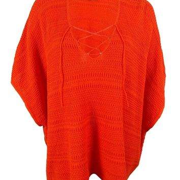 Ralph Lauren Women's Crochet Linen Blend Poncho Sweater