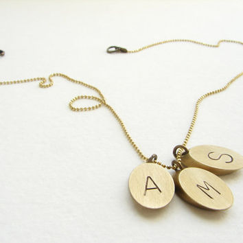 Geometric Personalized Initial Necklace with Triple Charms