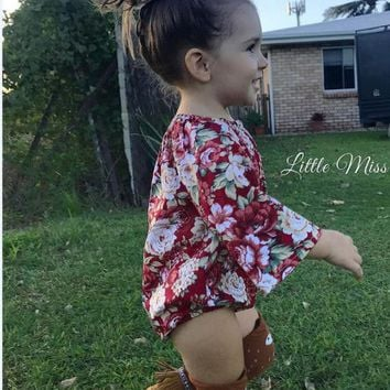 Fashion Baby Kid Girl Cotton Floral Long Sleeve Bodysuit Jumpsuit Romper Outfits