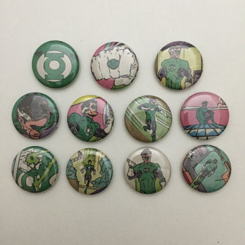 Green Lantern Magnets - 11 pcs - 1 Inch Green Lantern Magnets - Hal Jordan Comic - Green Lantern Series - Magnets - Ready to Ship