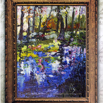 Wetland Reflections Cypress Gardens in Charleston South Carolina Impressionist Original Oil Painting Landscape
