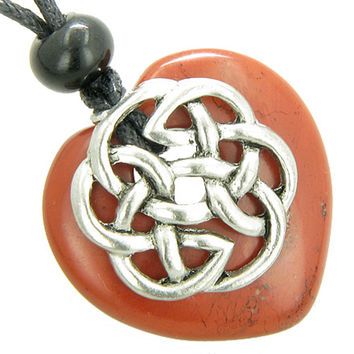 Amulet Celtic Shield Knot Puffy Heart Red Jasper Gemstone Pendant Necklace