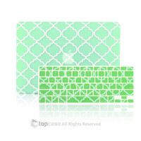 """TopCase 2 IN 1 Quatrefoil / Moroccan Green Ultra Slim Rubberized Hard Case Cover + Keyboard Cover for MacBook Air 11"""" Model: A1370&A1465"""