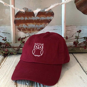 OWL Embroidered Halloween Baseball Cap Low Profile Curved Bill - Burgundy