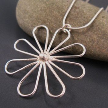 Sterling silver flower pendant by DvoraSchleffer on Etsy