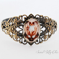 Ravenclaw Inspired Vintage Style Cuff Bracelet, Antique Brass Filigree Ravenclaw Crest Bracelet, Harry Potter Jewelry