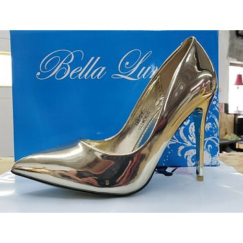 "Fabio Metallic Gold Patent 4.5"" High Heel Shoes Pointy Toe Pump 7-11"