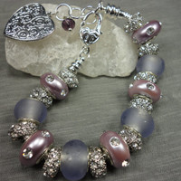 Lavendar and Lilac Charm Bracelet with Engraved Heart and Crystal Charms