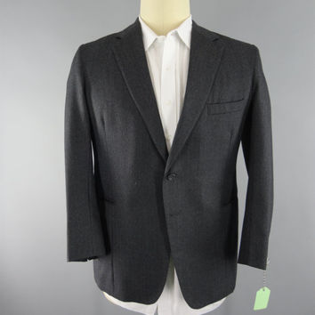 Vintage 1960s Blazer / 60s Jacket / 1960s Sports Coat / Charcoal Grey Wool / S. Mead Cheshire England