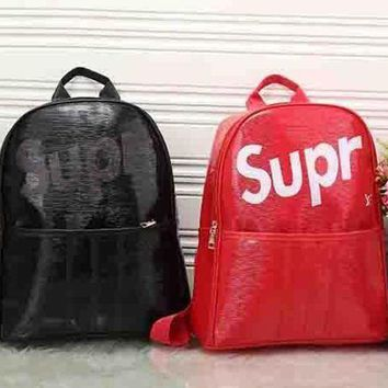 PEAPUP0 LV x Supreme Leather Bookbag Daypack Travel Bag School Bag Backpack