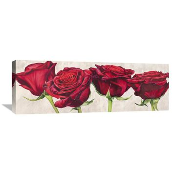 Global Gallery Luca Villa 'Rose romantiche' Stretched Canvas Artwork | Overstock.com Shopping - The Best Deals on Gallery Wrapped Canvas