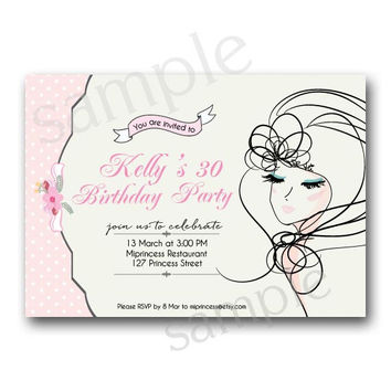 Girls Birthday party Invitation for any age,  18 20 30 40 50 60 70 80 birthday invitation doodle girl illustration Card Design  - card 76