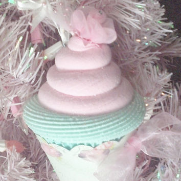 Marie Antoinette Fake Cupcake Christmas Tree Ornament Photo Prop Holiday Decorations, Pink Christmas Displays, Eat More Cake Ornaments