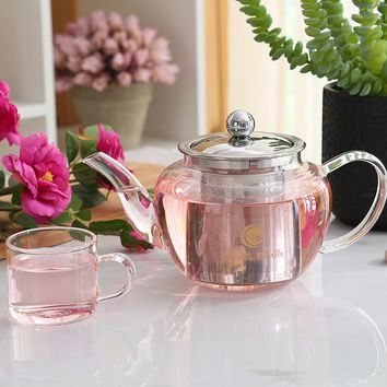 Heat Resistant Glass Loose Leaf Tea Teapot With Stainless Steel Infuser Filter Water Coffee Tea Pot