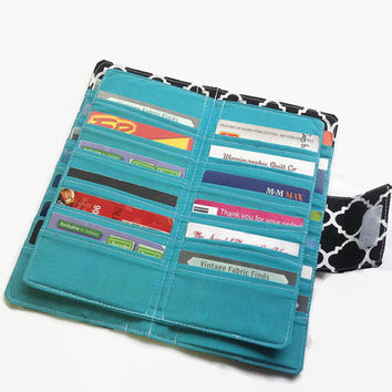 Womens Card Wallet, Credit Card Holder, Credit Card Organizer, Credit Card Wallet, Black wallet, Teal Wallet, Card Wallet