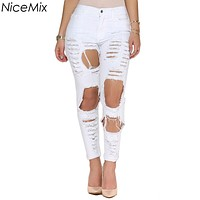 Plus Size NiceMix 2017 High Waist Jeans Woman Sexy Ripped Jeans For Women Tassel Skinny Pencil Pants Hole Denim Jeans Femme