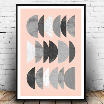 Nordic art, geometric abstract, watercolor print, pink home decor, black and white, minimalist art, living room art wall print, abstract art