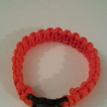 Orange paracord parachute cord 550/325 bracelet with survival buckle or regular buckle