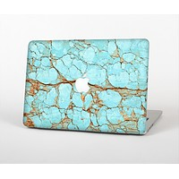 The Cracked Teal Stone Skin Set for the Apple MacBook Air 13""