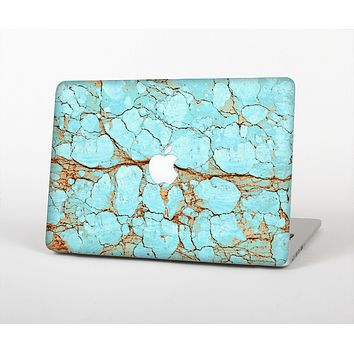 The Cracked Teal Stone Skin Set for the Apple MacBook Pro 13""