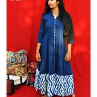 Shop Indigo kalidaar with printed border by Silai | The Secret Label