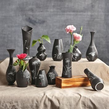 Classic Black Ceramic Vase Terrarium Chinese Hand Painted Crafts Porcelain Flower Vase Creative Gift Home Wedding Decoration