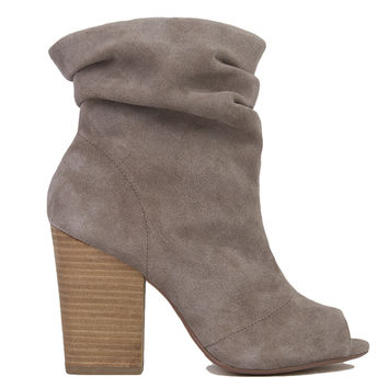 Chinese Laundry Break-Up Peep Toe Slouch Booties - Grey Suede