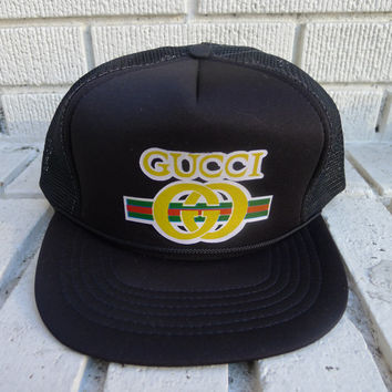 Deadstock GUCCI Hat Mesh Trucker 80's Hip Hop 90's HipHop fashion vintage snapback n.o.s streetwear rap throwback bboy breaker battle crew