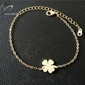 Stainless Steel Lucky Charm 4-Leaf Clover Irish Good Luck Bracelet Rose Gold Color Shamrock St. Patrick's Day